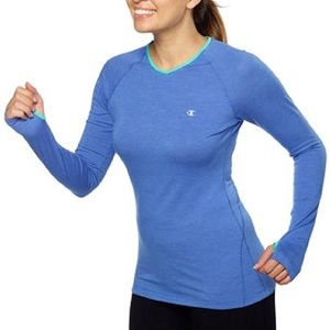 Champion Active Athletic Heathered Blue Long Sleeve Active Workout Tee